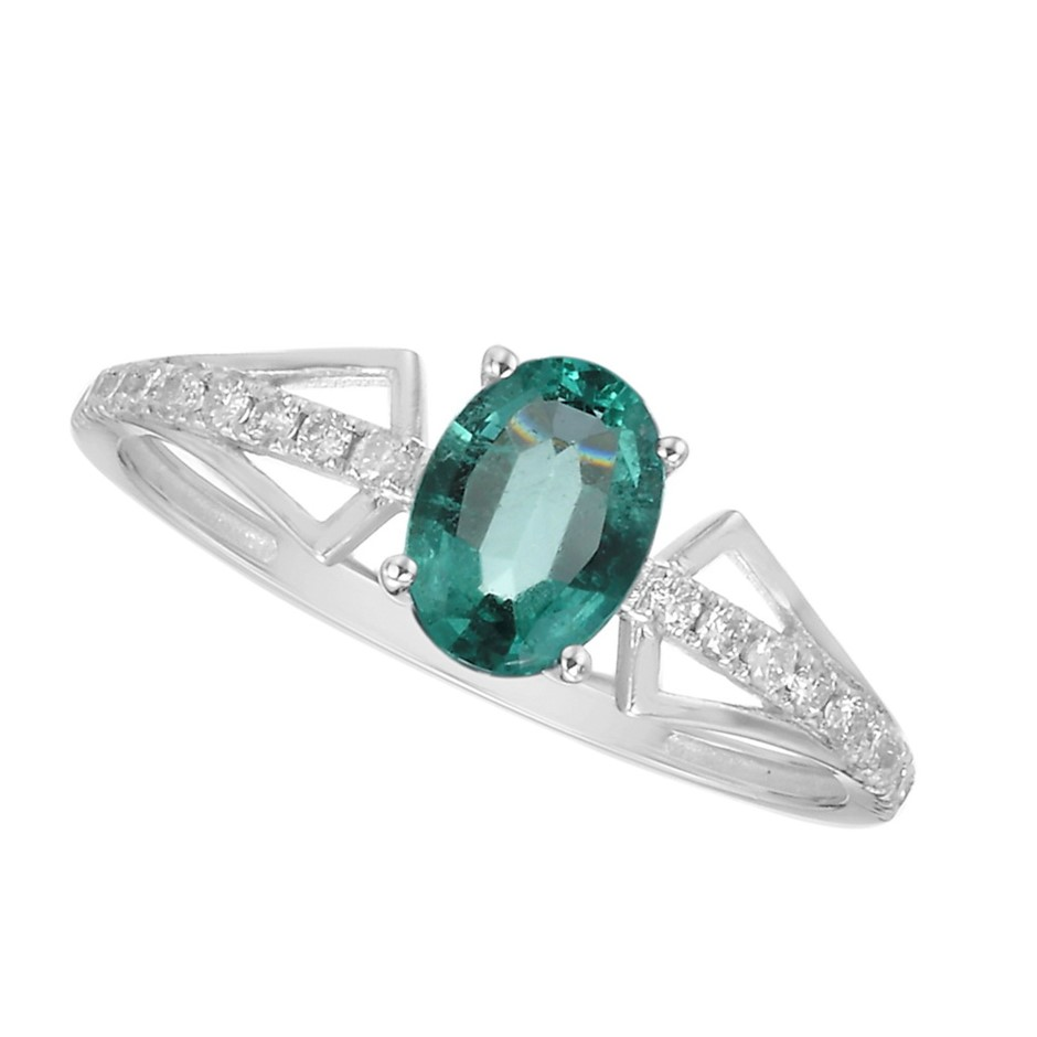 9ct White Gold, 0.73ct Emerald and Diamond Ring