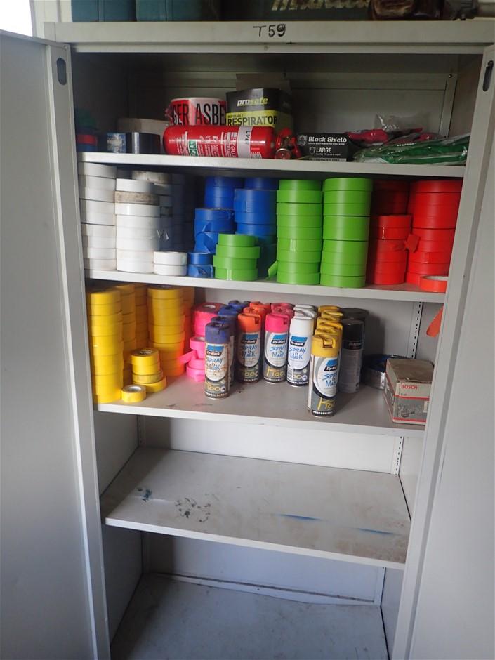 2 Door Cabinet with Contents of Assorted Tape
