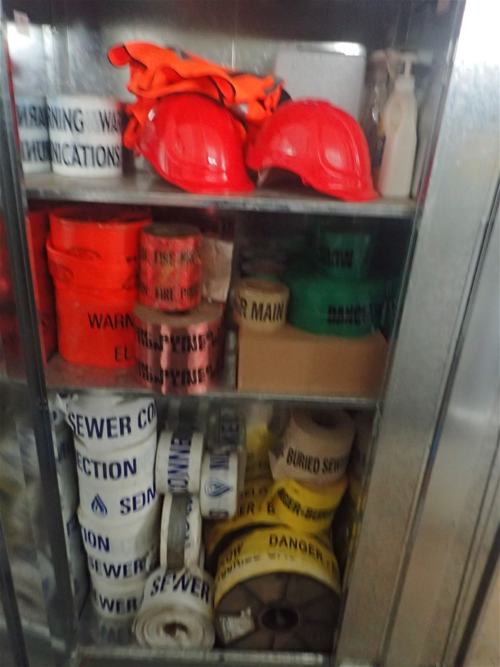 2 Door Cabinet with Contents of Assorted PPE & Tape