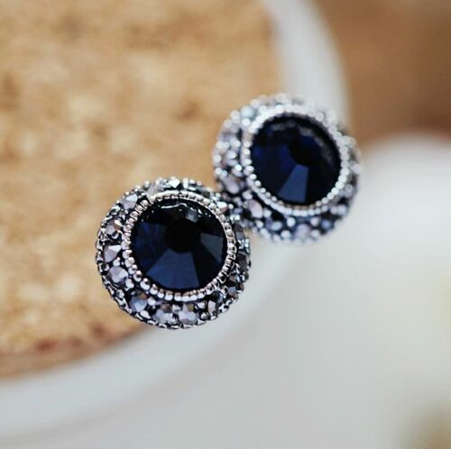 Antique Style 925 Sterling Silver Blue Sapphire 10mm Stud Earrings Vintage
