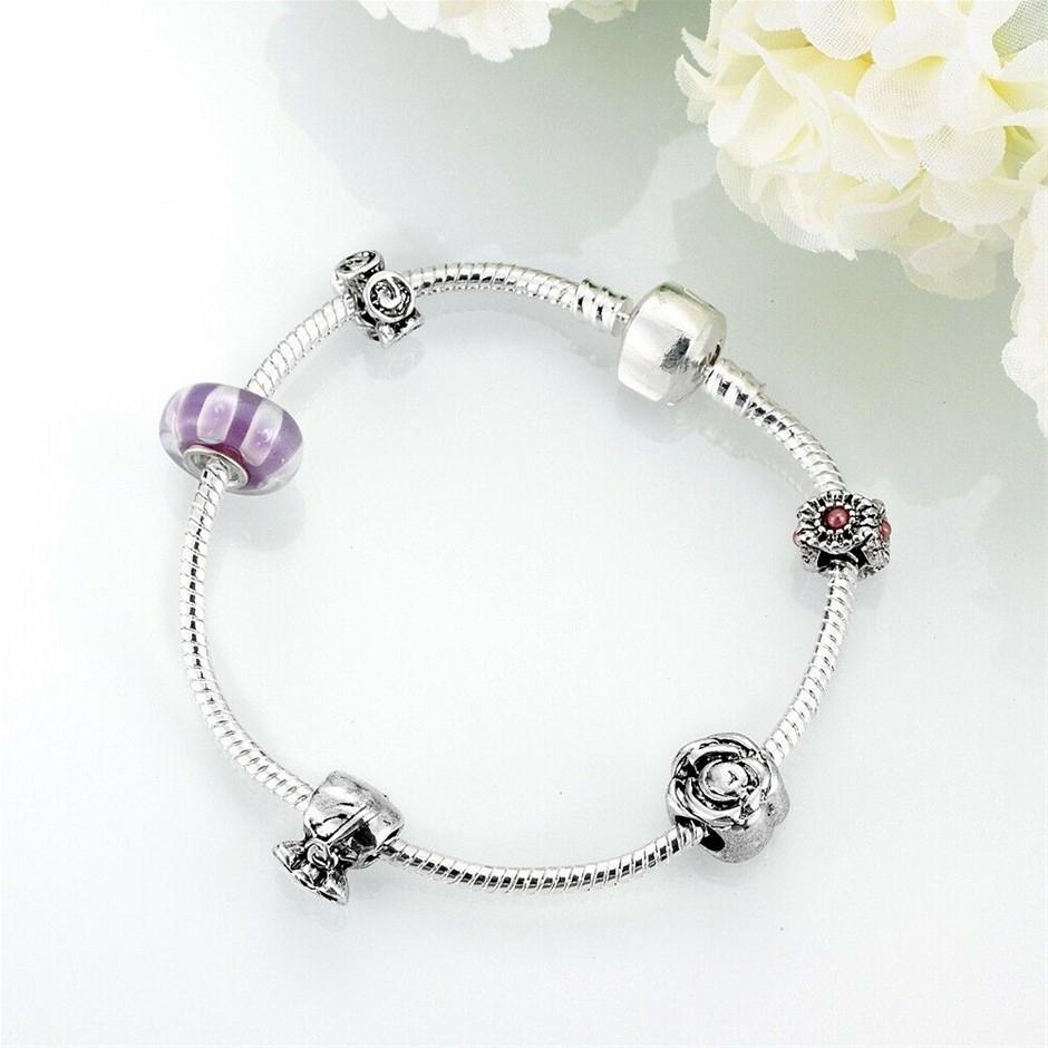 925 Sterling Silver Filled European Chain Charm Bracelet Bangle Xmas