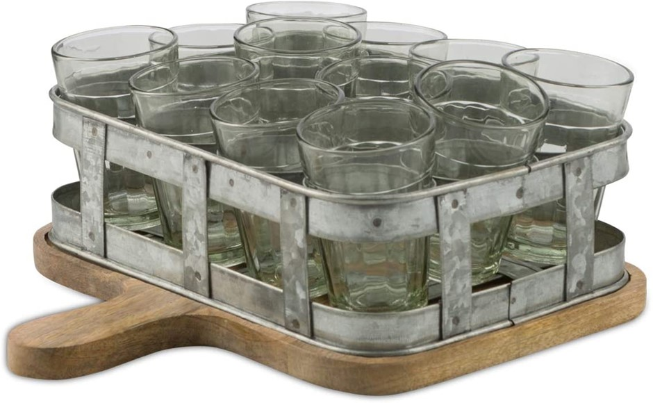 BOHO TRADERS Serving Board Iron Caddy with 13 x Glasses, Colour: Oxidised I