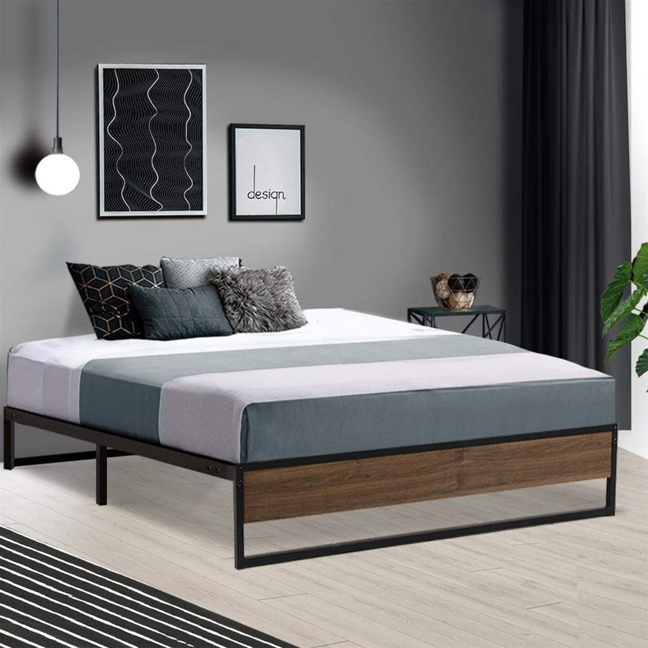 Metal Bed Frame Queen Mattress Base Platform Foundation Wooden Black OSLO