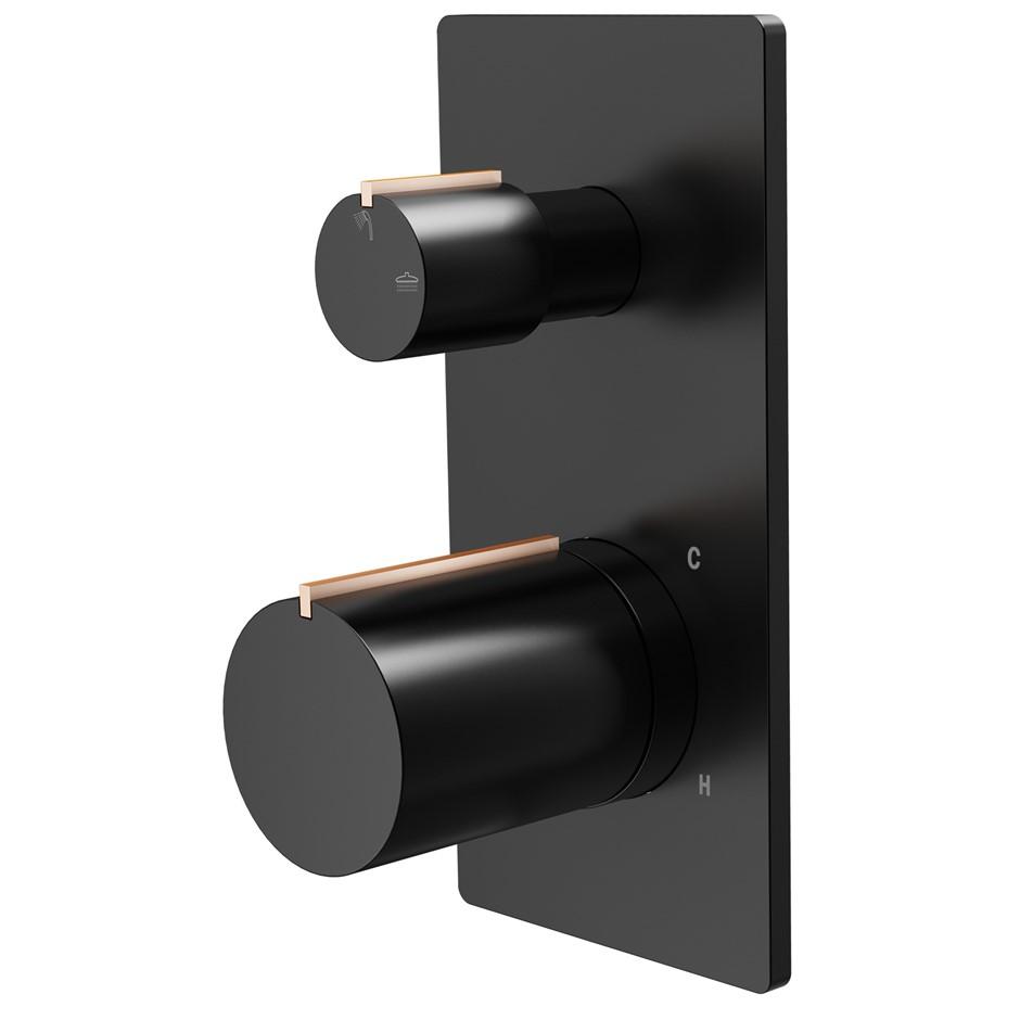 Mondella Signature Divertor Shower Mixer (Matte Black & Rose Gold)