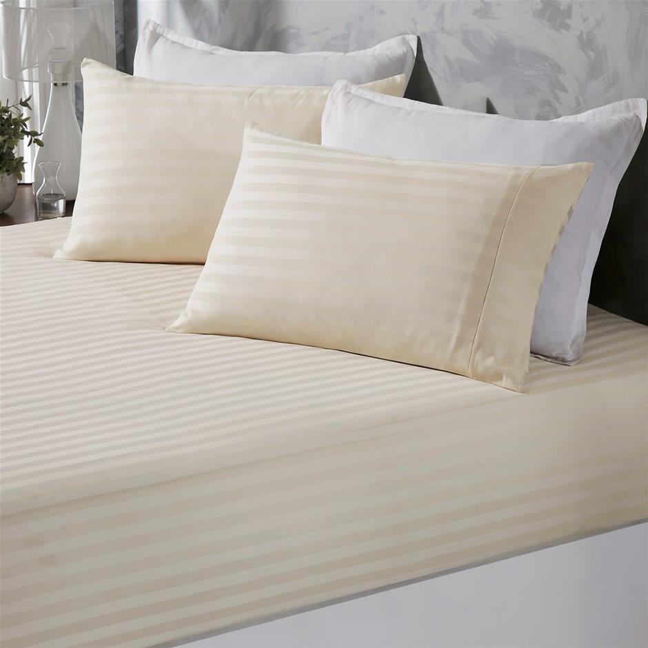 Royal Comfort Damask Stripe Cotton Blend 3Piece Sheet Set | Double | Pebble