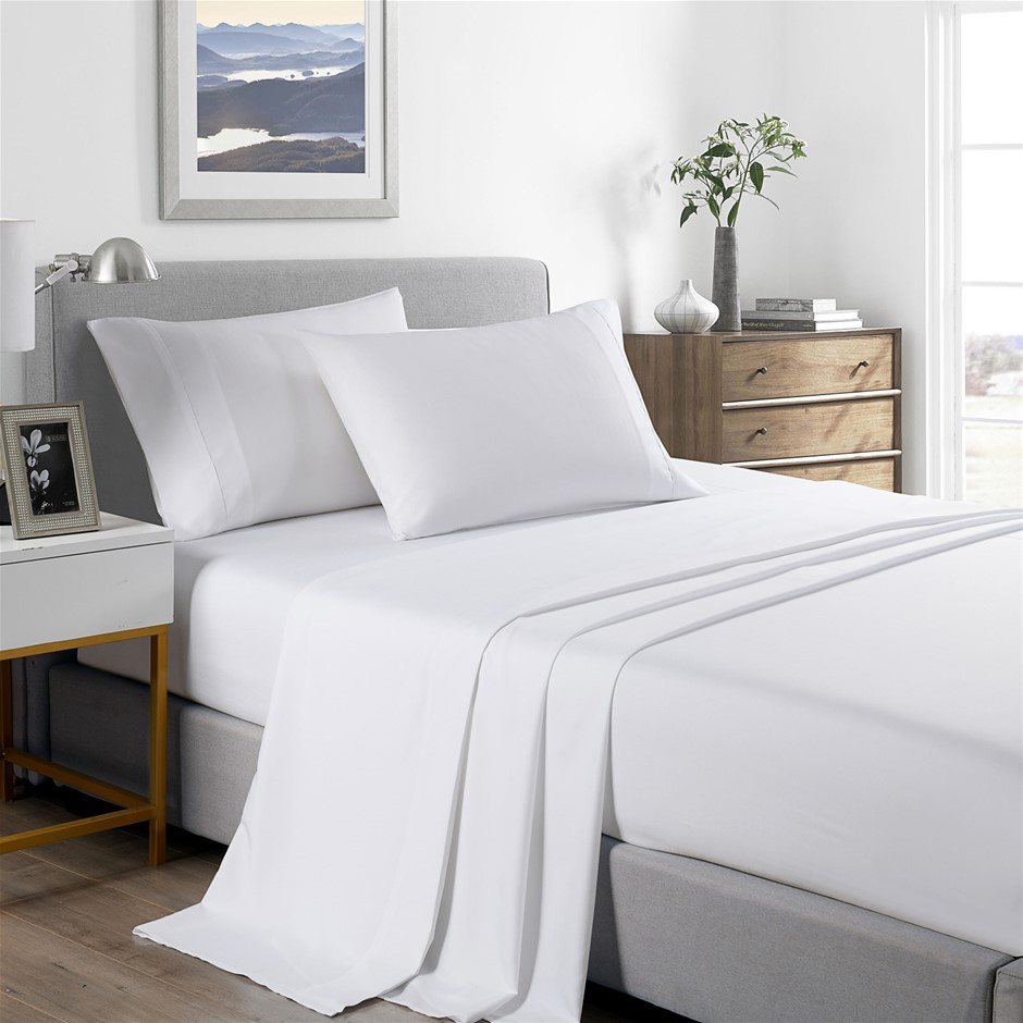 Royal Comfort Bamboo Cooling 2000TC Sheet Set - Queen-White