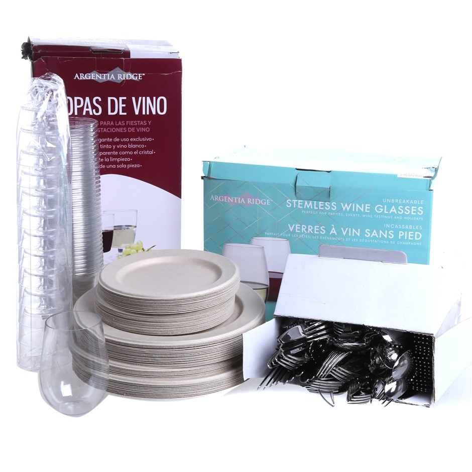 Mixed Box of Disposable Dinnerware Comprised Of: Wine Glasses, Plates & Mor