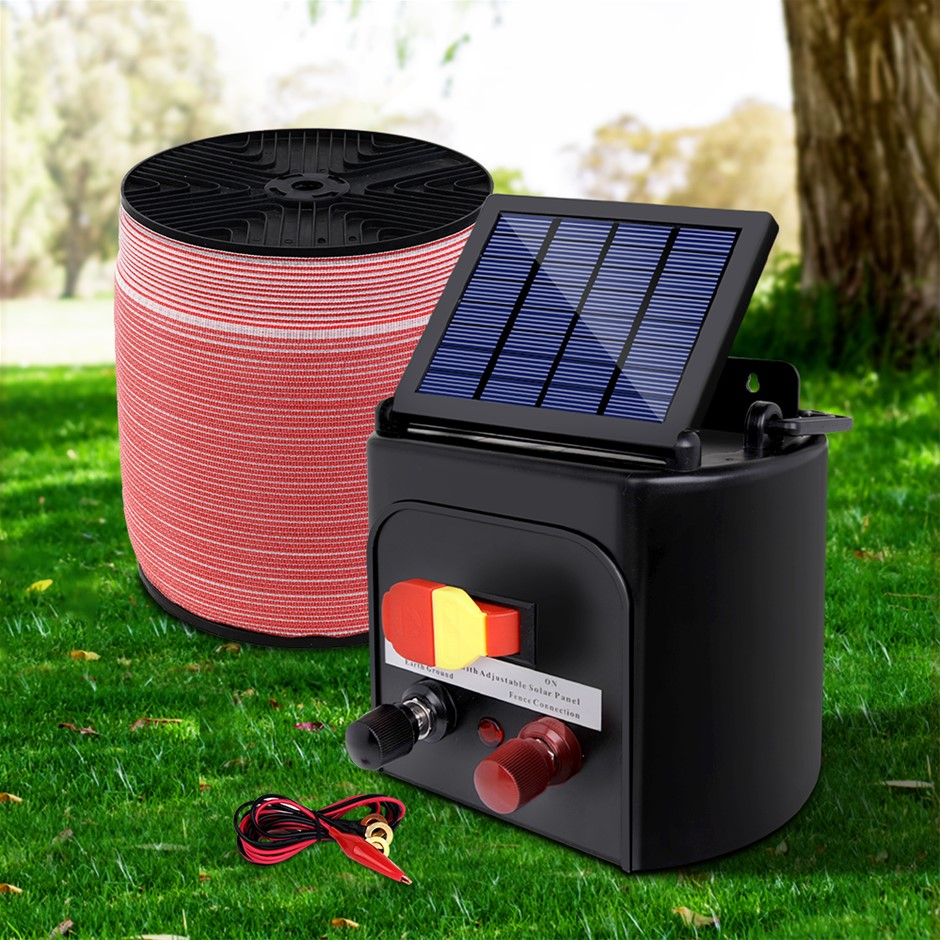 Giantz Electric Fence Energiser 3km Solar Powered Set + 1200m Tape