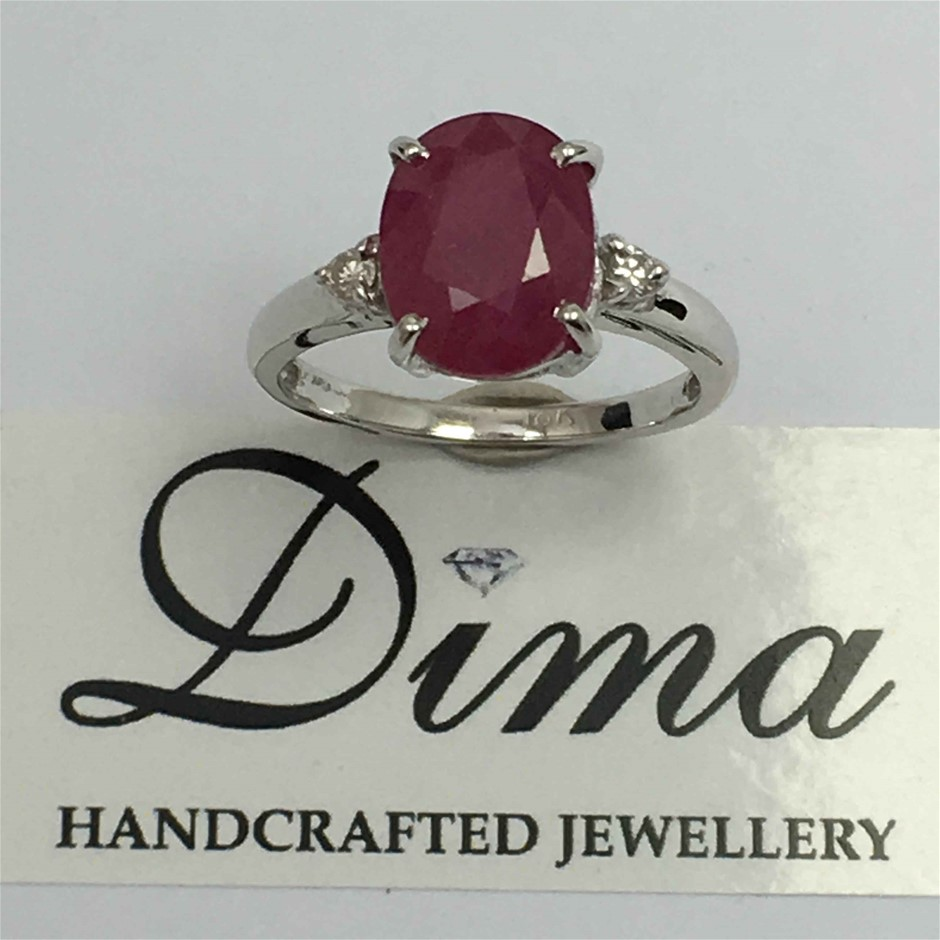 18ct White Gold, 3.38ct Ruby and Diamond Ring