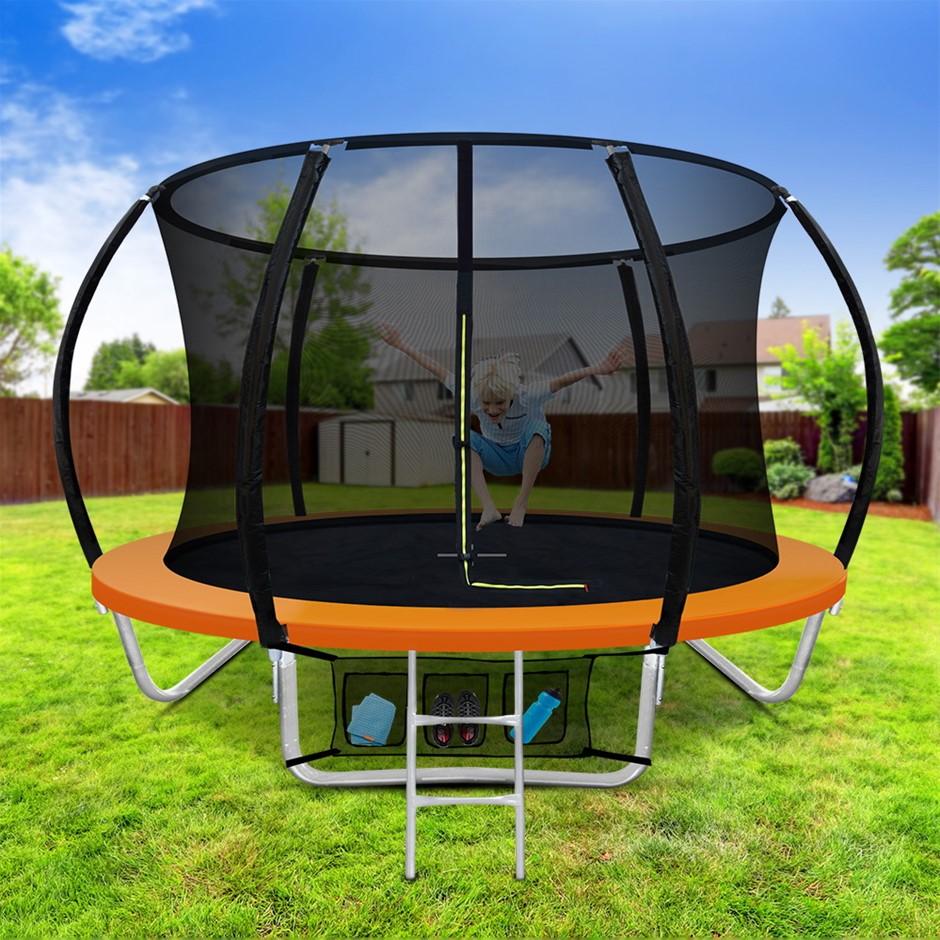 Everfit 8FT Trampoline Round Kids Enclosure Safety Net Pad Outdoor Orange
