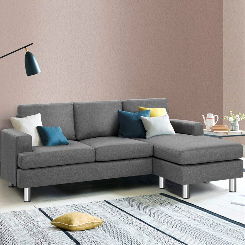 Artiss Sofa Lounge Set Couch Futon Corner Chaise Fabric 3 Seater Suite Grey