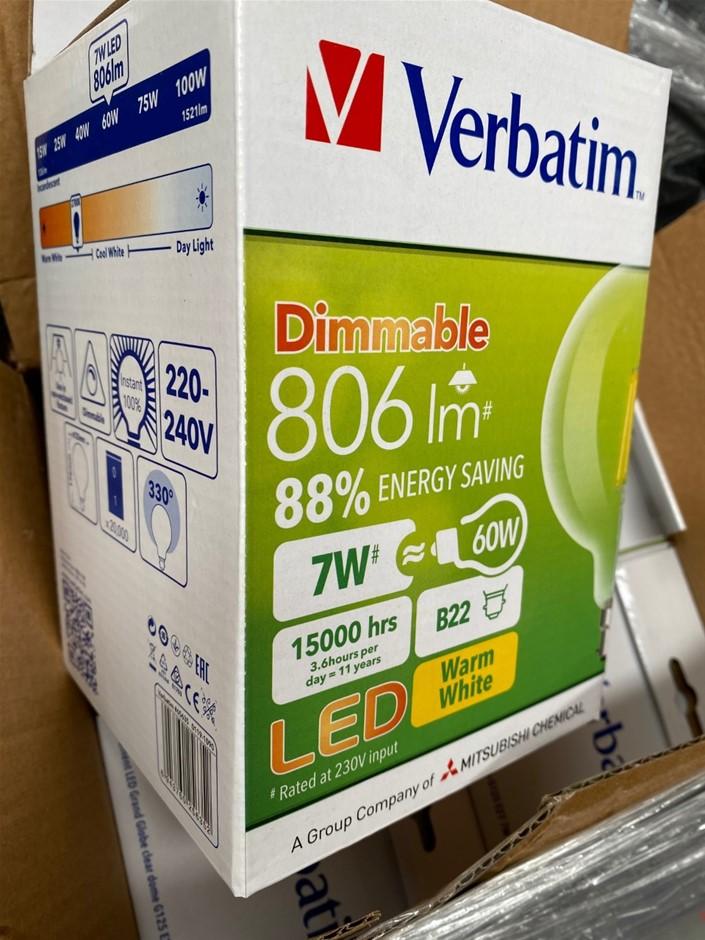 Qty 4 x Verbatim Filament LED Dimmable G125 B22 7W 806lm