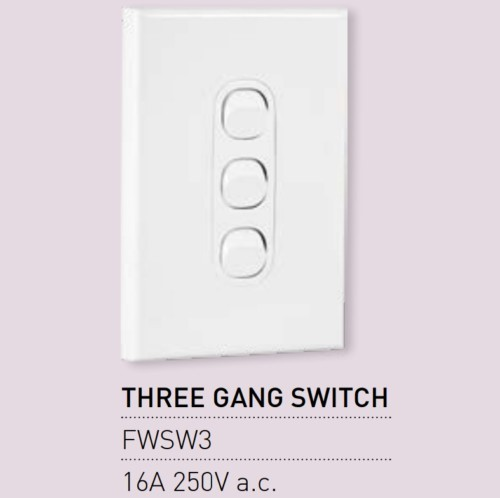 Qty 10 X Vynco Vertical Wall Light Switch Outlet 3 Gang 16A 250V