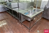 Preparation Bench with ``L`` shape section with Twin Bowl Sinks
