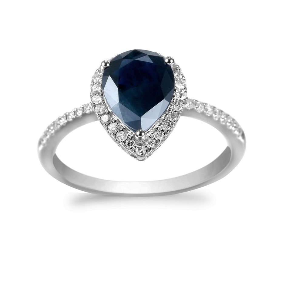 9ct White Gold, 1.92ct Blue Sapphire and Diamond Ring