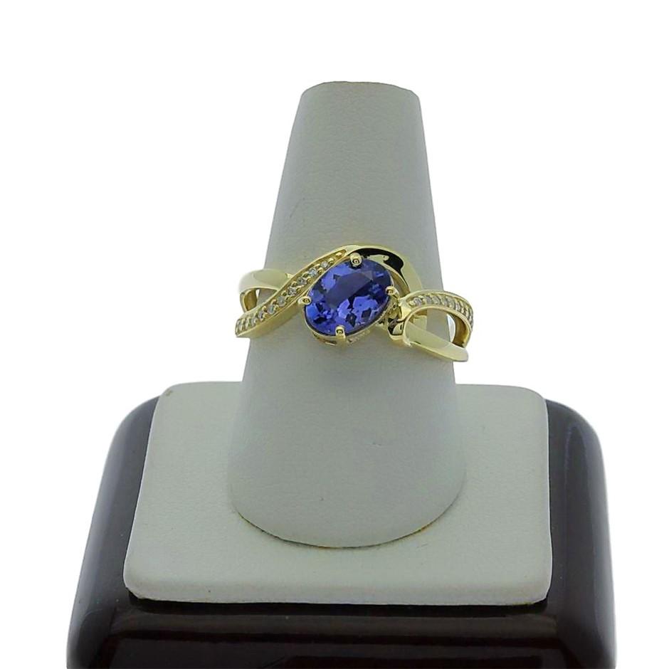 9ct Yellow Gold, 1.20ct Tanzanite and Diamond Ring