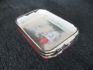 Qty 3 x Cast Iron Roasting Dishes