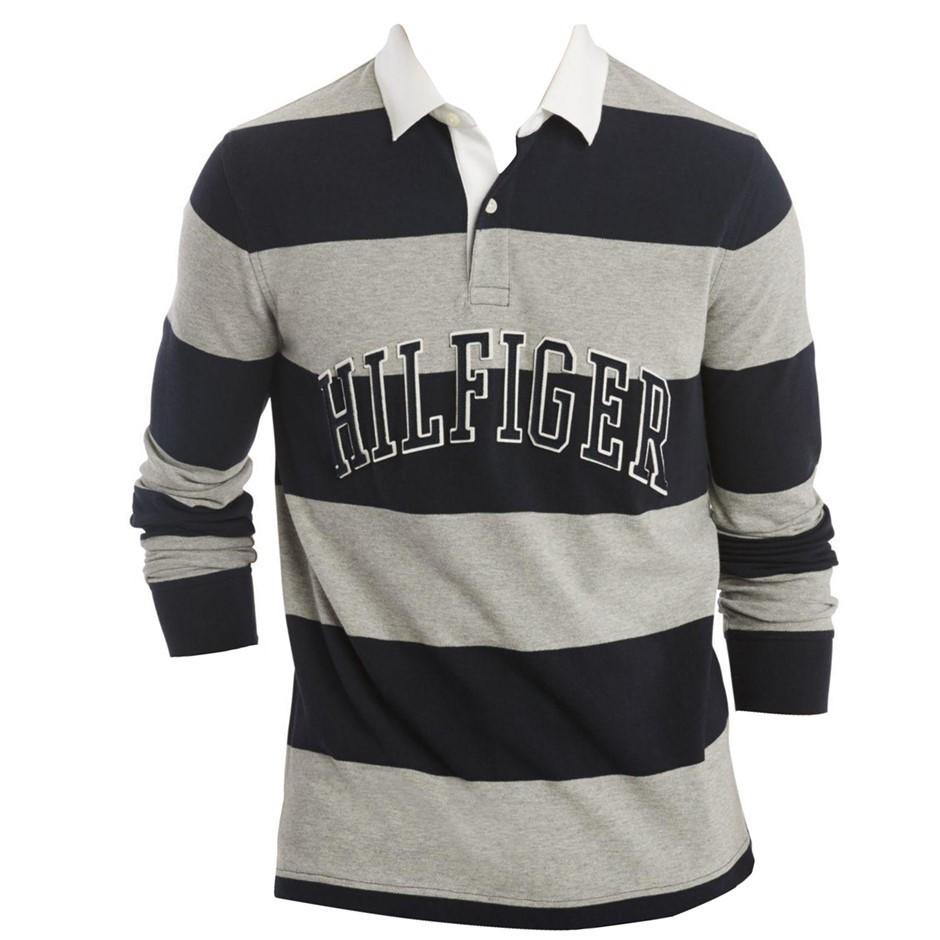 TOMMY HILFIGER Men`s Washington Polo Shirt, Size XL, 100% Cotton, Grey Heat