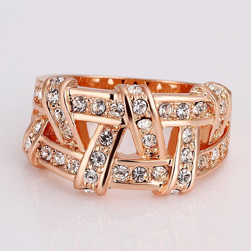 18K Rose Gold filled Wedding Engagement Ring SWAROVSKI Crystal
