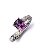 Magnificent Pink Sapphire Platinum Ring, Pink Kunzite, Pearl