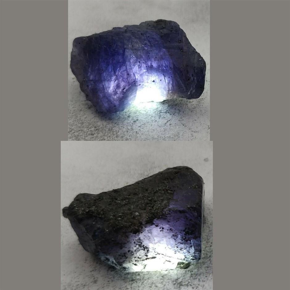 67ct (2pcs) Tanzanite rough cut gemstone