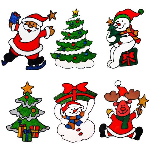 6 Set Christmas window decals: Set of 6 different designs (205mm x 130mm)