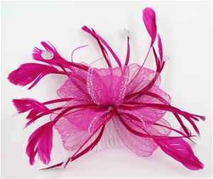 2 x FASCINATOR - PINK FEATHERS WITH MESH