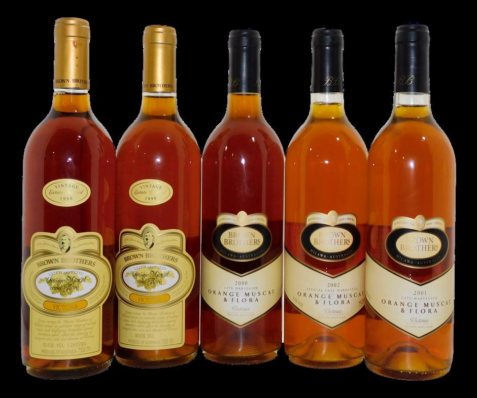 Brown Brothers Orange Muscat & Flora Dessert Wine 1998-2002 (5x 750mL). VIC