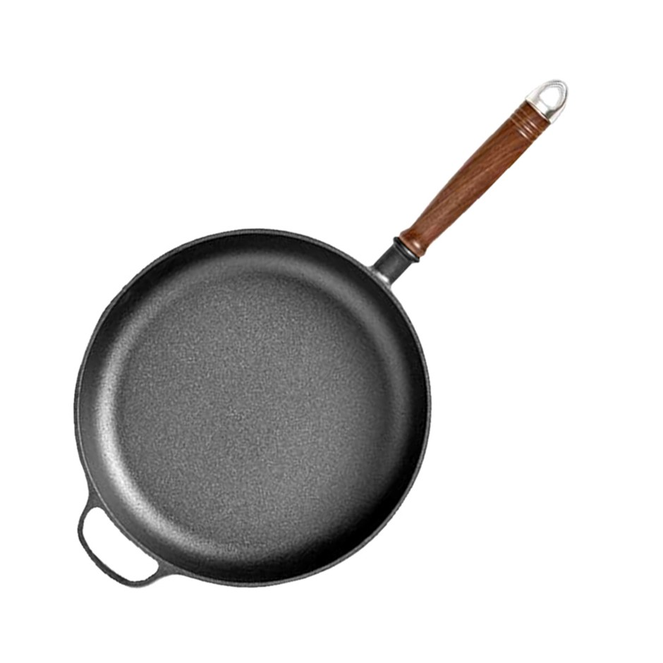 SOGA 29cm Round Cast Iron Frying Pan Skillet with Helper Handle