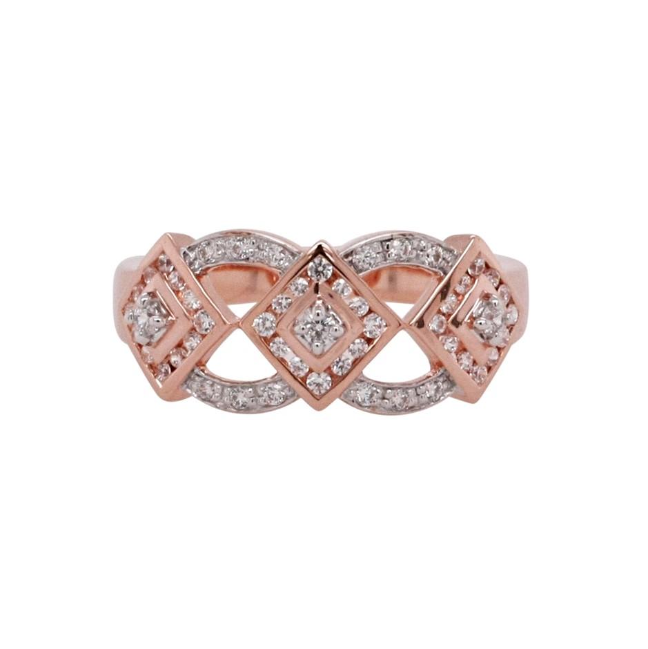 Ladies Rose Gold Vermeil White CZ Deco Design Ring.