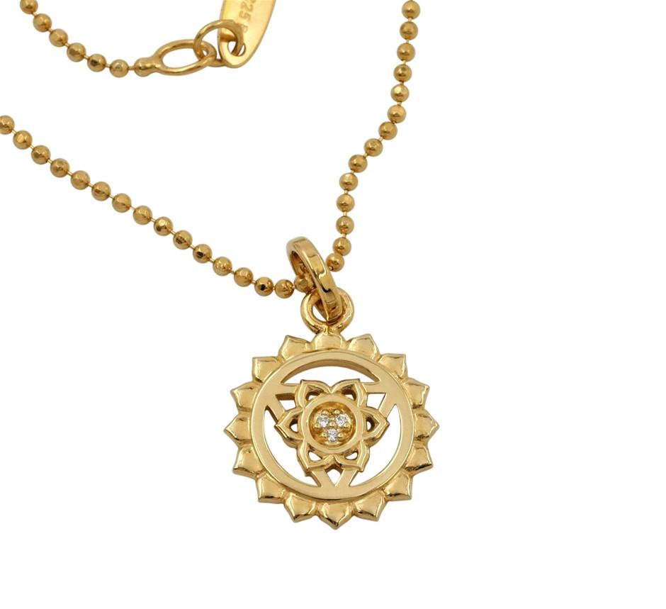 Thomas Sabo Yellow Gold Plated Throat Chakra Necklace.