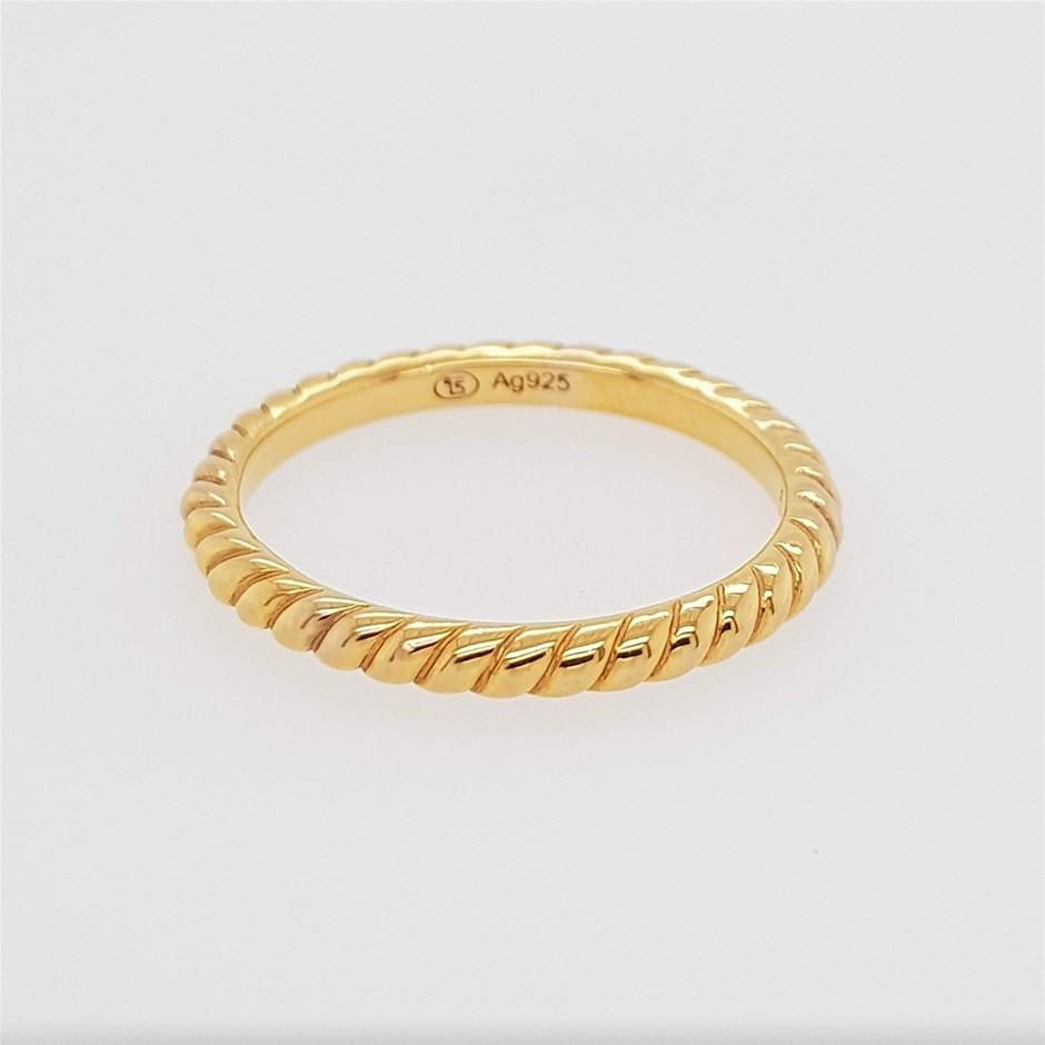 Thomas Sabo Yellow Gold Plated Polished Rope Ring.