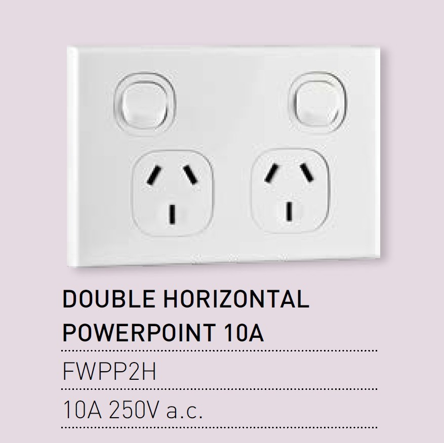 Qty 10 x Vynco Horizontal PowerPoints Wall Dual Switch Double Outlet 10A