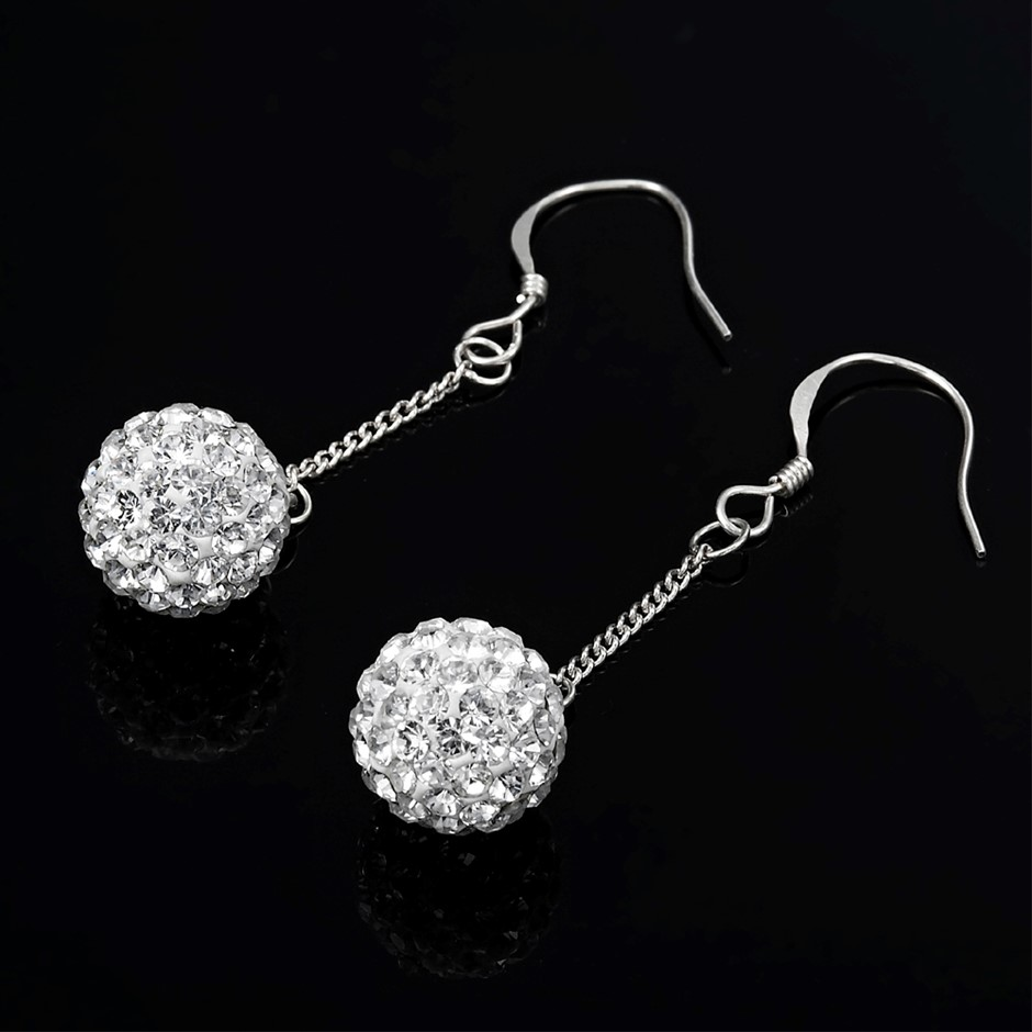 10mm Solid 925 Sterling Silver Earrings - 90 Crystals by Swarovski®
