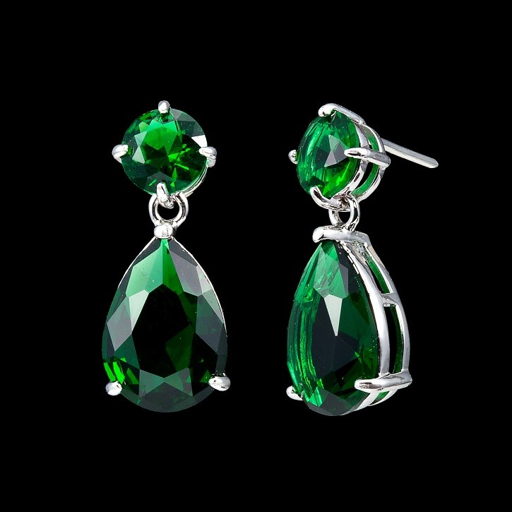 Solid 925 Sterling Silver Angelina Inspired Emerald Coloured Drop Earrings