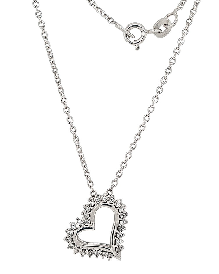 Sterling Silver White CZ Heart Necklace.
