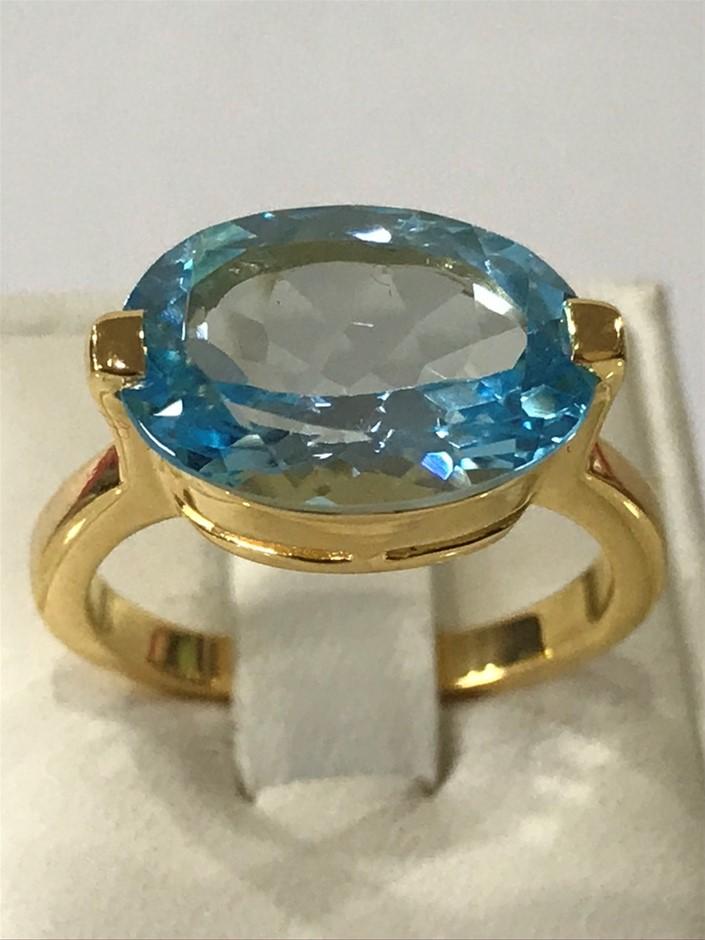 Blue Topaz Solitaire 8.80ct & 18K Y/Gold Vermeil Size N 1/2 (7.00