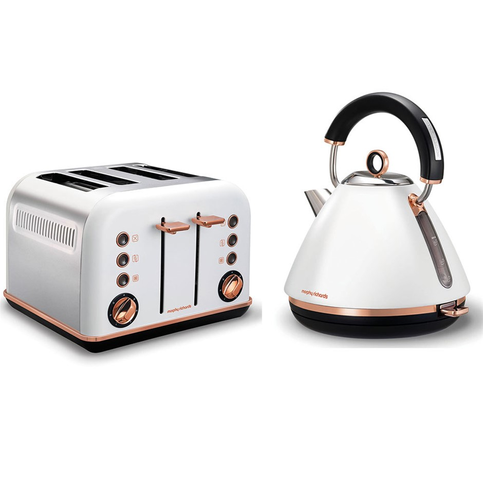 Morphy Richards White Accents Rose Gold Kettle & 4 Slice Toaster