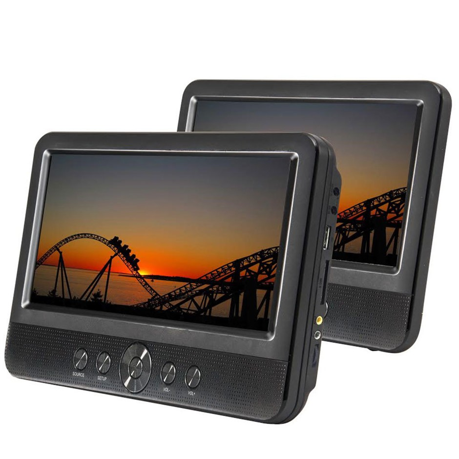 Lenoxx 10inch Twin Screen Travel/Car/Portable DVD Player w/ Speakers/Remote