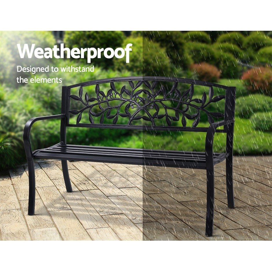 Gardeon Garden Bench Seat Chair Steel Outdoor Patio Park Lounge Furniture