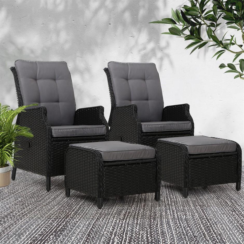 Gardeon Recliner Sun lounge Outdoor Setting Patio Furniture Wicker Sofa 2pc