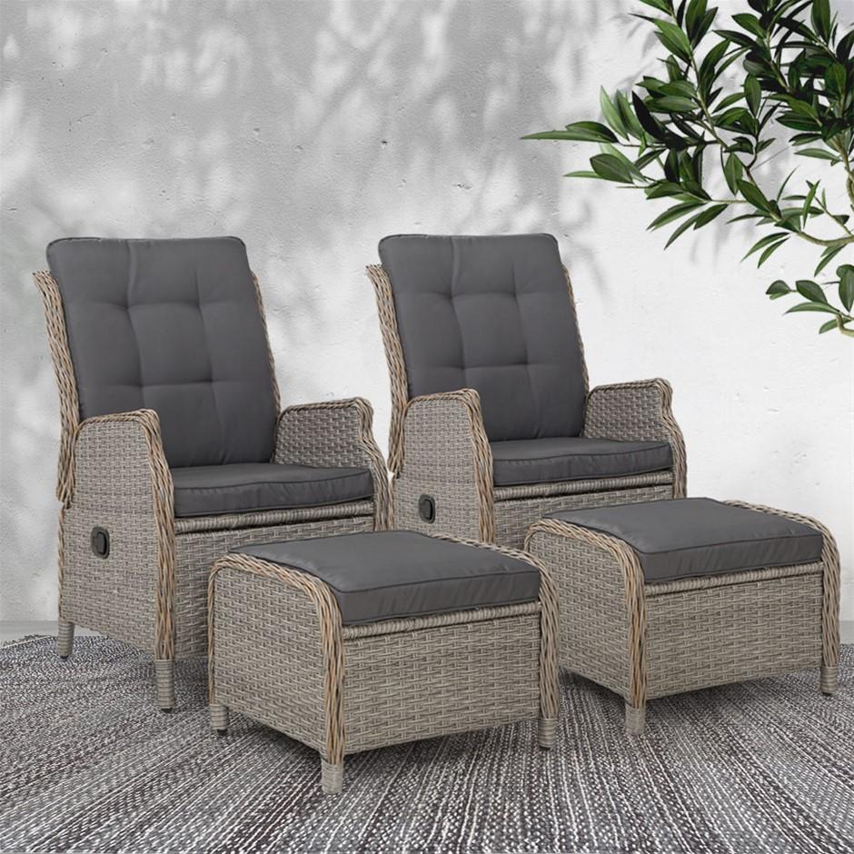 Gardeon Recliner Sun lounge Outdoor Patio Furniture Wicker Sofa Lounger 2pc