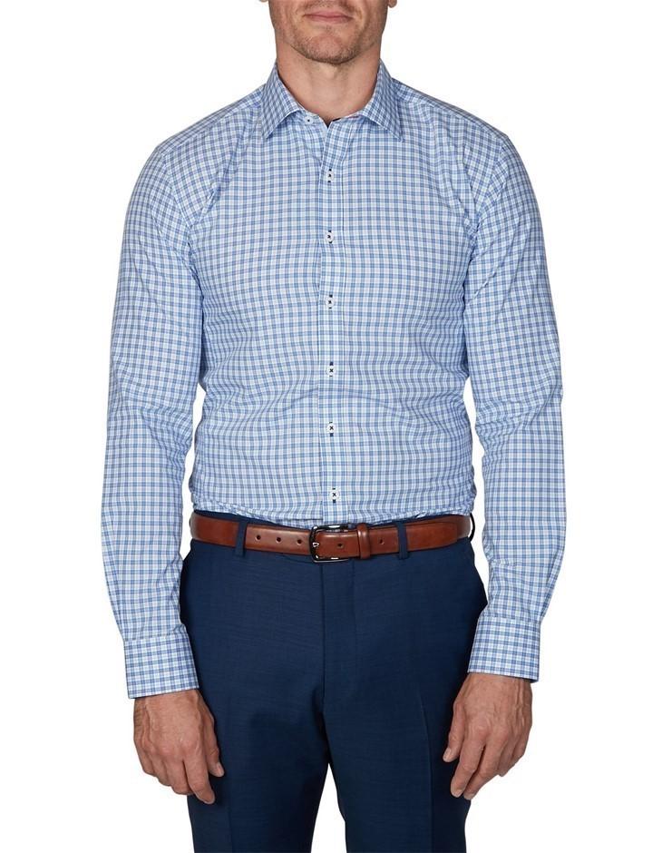 GEOFFREY BEENE Atuk Check Shirt. Size XXL, Colour: Cornflower. 100% Cotton.