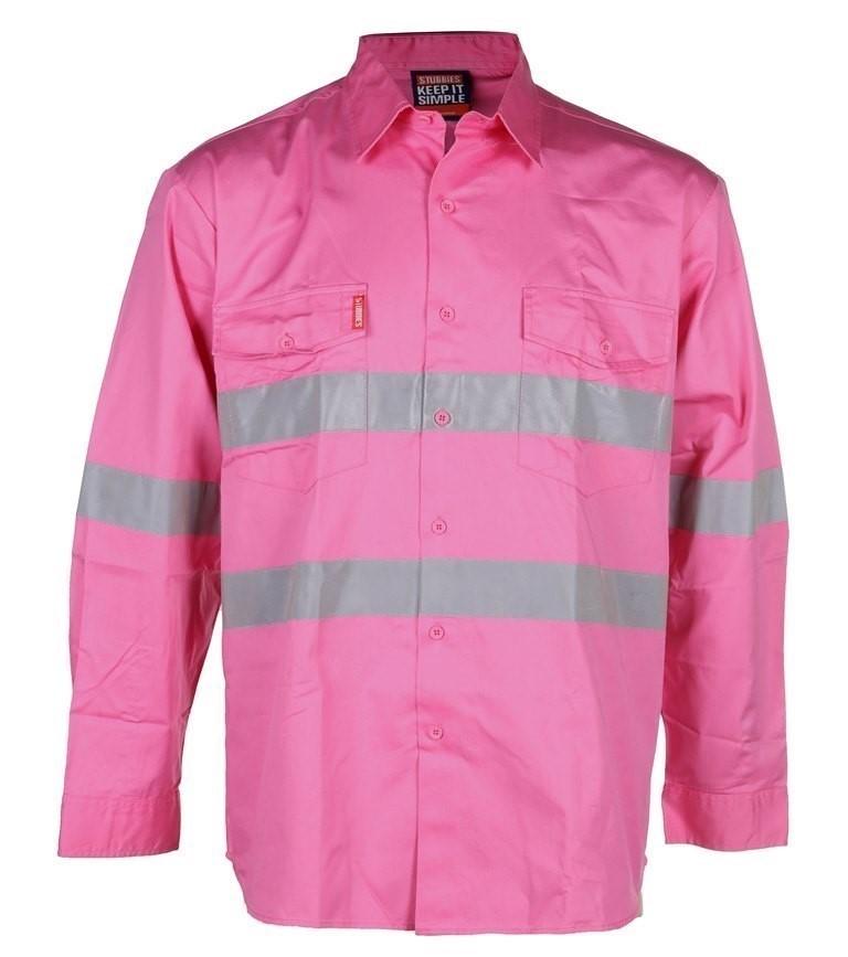 4 x STUBBIES Cotton Drill Shirts, Size 2XL, Long Sleeve, 3M Reflective Tape