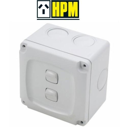 HPM AQUA Weatherproof Rocker Switch 2 Gang Double ON OFF 10A IP56