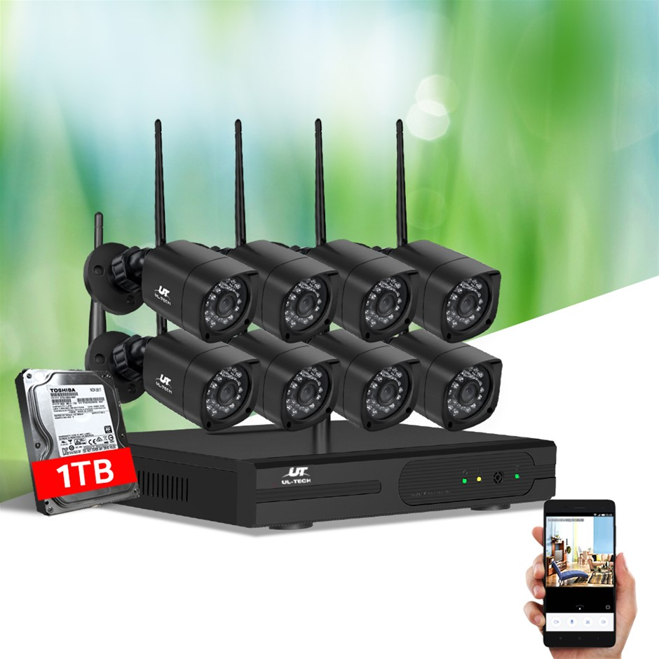 UL-tech CCTV Wireless Security Camera System 8CH Home Outdoor WIFI 8 Square