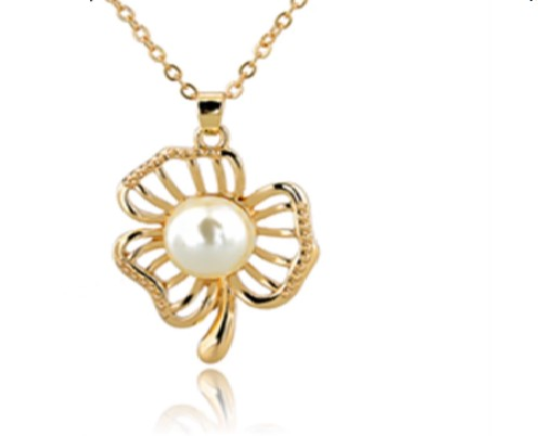 18k Gold-filled Simulated Pearl Necklace Pendant