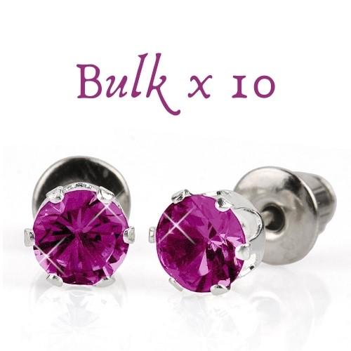 BULK PACK - 10 x 5mm Birthstone Earrings (February) - Great, Christmas Idea