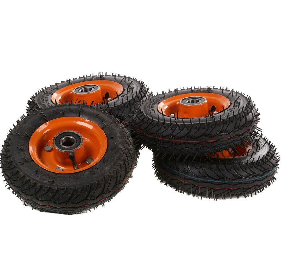 4 x Pneumatic Tyres Wheels 200mm Dia 20mm Centre. Buyers Note - Discount Fr