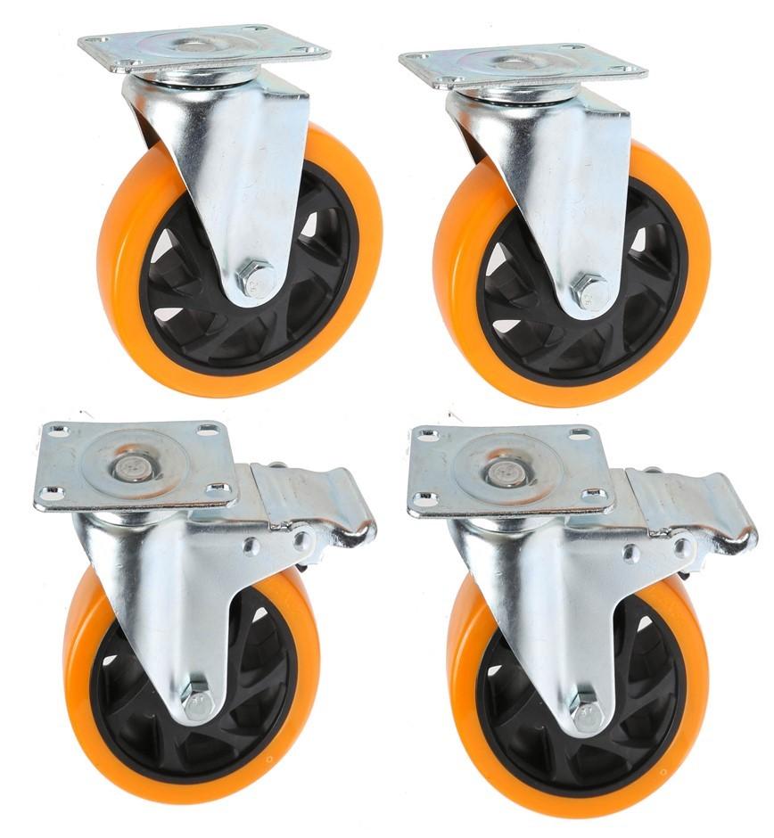 Set of 4 Swivel Castor Wheels 75mm Dia, PU Wheels, 2 x Brakes, Plate Size 9